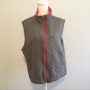 Coldwater Creek Gray Pink Quilted Vest